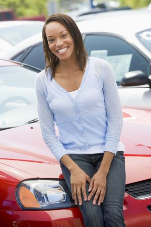 Woman shopping for a new car Stock Photo - 3198051