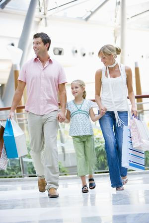 Mother and father with young daughter at a shopping mall photo