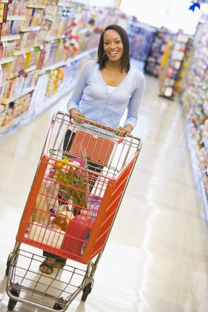 grocery cart: Woman shopping at a grocery store