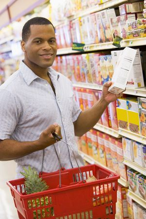 Man shopping at grocery store photo