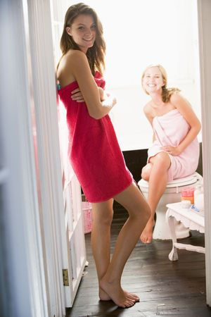 Two women in a bathroom Stock Photo - 3204188