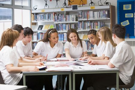 secondary school: Students in a study group collaborating