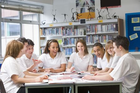 only teenage girls: Students in a study group collaborating