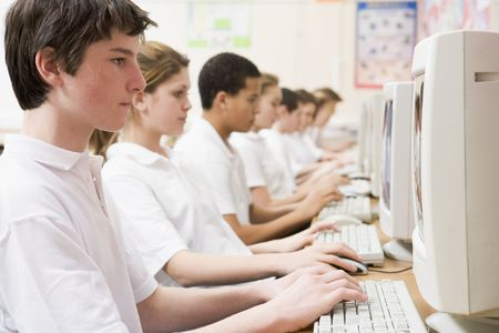 Students working on computer workstations Stock Photo - 3204072