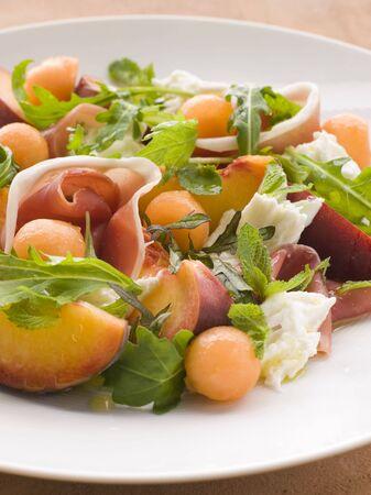 parma ham: Platter of Cantaloupe Melon Parma Ham Mozzarella Cheese and Peach
