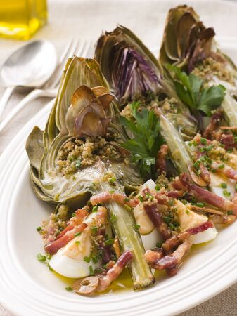 крупные планы: Roasted Globe Artichokes with Pancetta Egg and Garlic Breadcrumbs