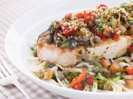 крупные планы: Baked Sicilian Swordfish with Linguine