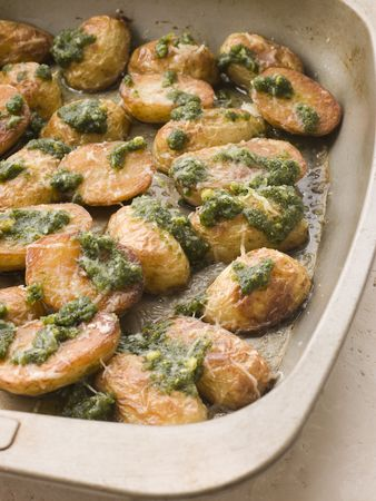 pine kernels:  Potatoes roasted with Pesto