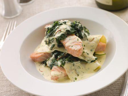 Open Lasagne of Salmon and Spinach with a Saffron Cream photo