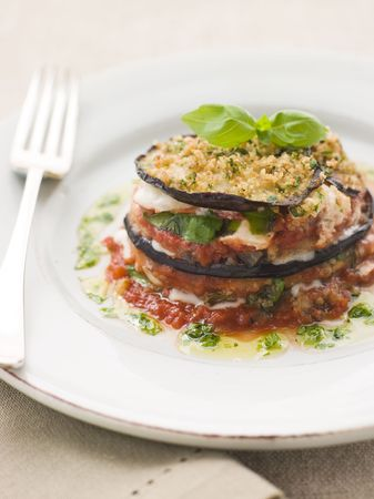 eggplants: Aubergine Parmigiana Tower with Herb Oil