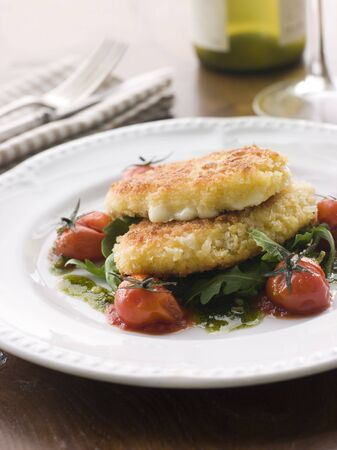 Breadcrumbed Mozzarella Cheese with Roasted Cherry Tomatoes and Pesto photo