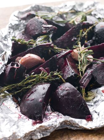 balsamic: Roasted Beetroot with Herbs Garlic and Balsamic Vinegar Stock Photo