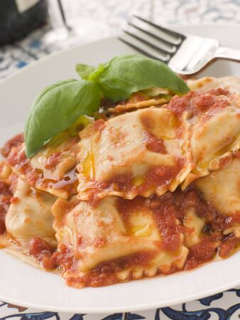 Veal and Sage Ravioli with Tomato and Basil Sauce photo