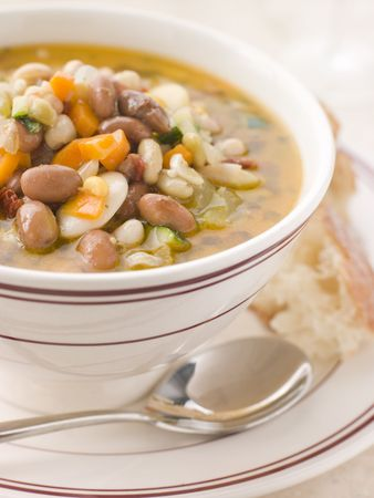 Tuscan Bean Soup with Crusty Bread Stock Photo - 3181242