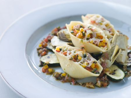 Conchiglioni Pasta filled with Mediterranean Vegetables and  Artichokes photo