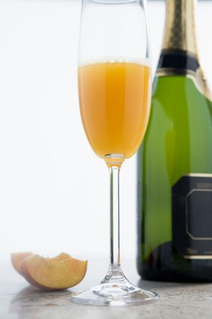 alcohol series: Glass of Peach Bellini Stock Photo
