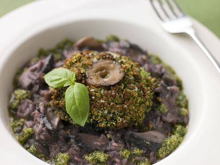 Herb Crusted Portabello Mushroom with Red Wine Risotto and Pesto Dressing photo