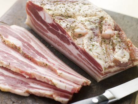 closeups: Piece of Pancetta and Slices