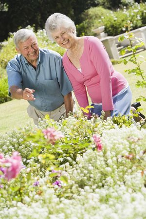 looking towards camera: Senior couple in a flower garden