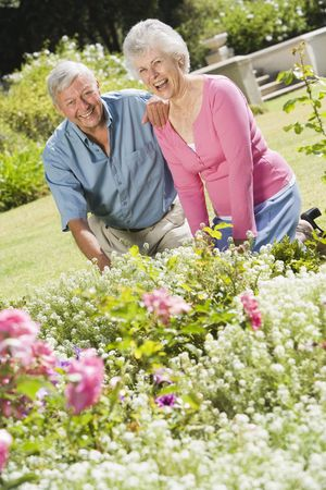 Senior couple in a flower garden Stock Photo - 3177570
