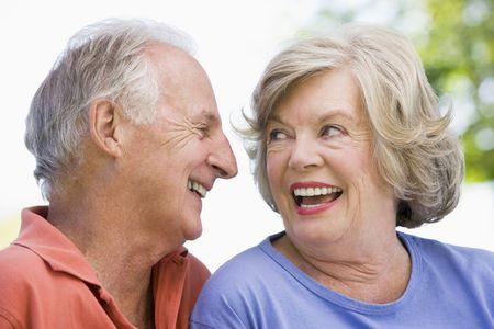 golden years series: Senior couple outdoors Stock Photo