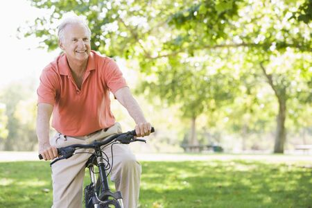 only one senior: Senior man on a bicycle