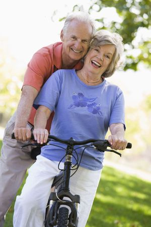 Senior couple on a bicycle Stock Photo - 3177029