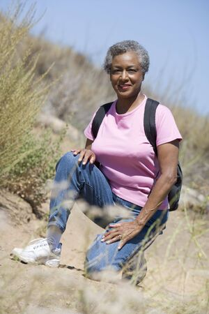 Senior woman on a walking trail Stock Photo - 3177510