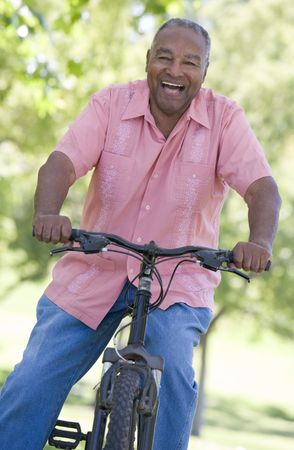 Senior man on a bicycle Stock Photo - 3177520