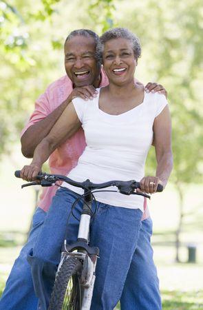 Senior couple on a bicycle Stock Photo - 3177135