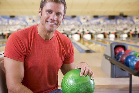 sporting activity: Man at a bowling lane Stock Photo