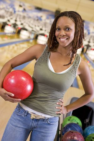 offset angles: Woman at a bowling lane Stock Photo