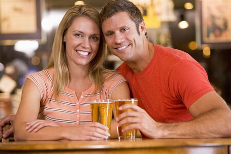 night club series: Couple having beer together