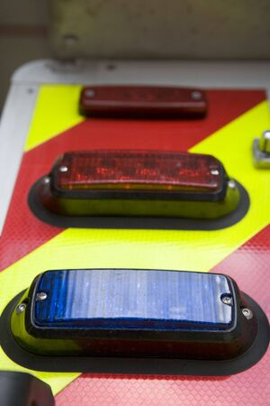 estacion de bomberos: Shot de luces en una estaci�n de bomberos (profundidad de campo)
