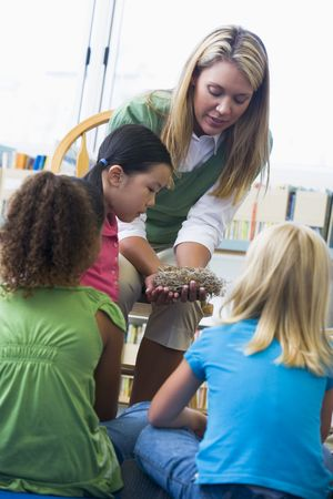 Teacher in class showing students a nest Stock Photo - 3205126