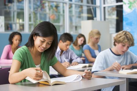 workbook: Students studying in geography class