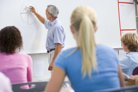 Studenti in classe con la matematica insegnante