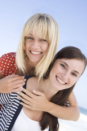 Two young women posing outdoors Stock Photo - 3205148