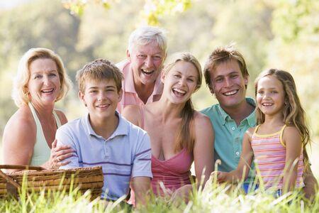 Family at a picnic smiling Stock Photo - 3460293
