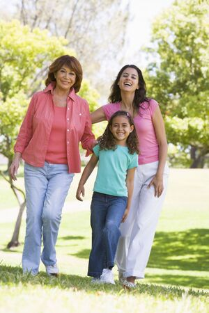 Grandmother with adult daughter and grandchild in park Stock Photo - 3460298