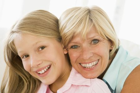 Grandmother and granddaughter smiling Stock Photo - 3460299
