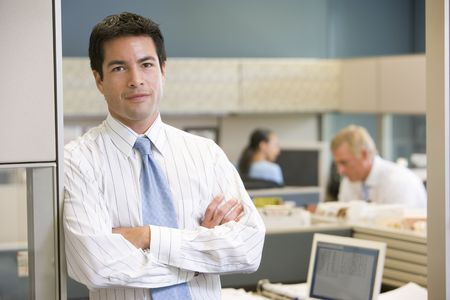 Businessman standing in cubicle Stock Photo - 3460941