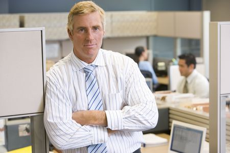 Businessman standing in cubicle Stock Photo - 3471664