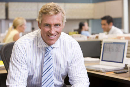 Businessman in cubicle smiling Stock Photo - 3460858
