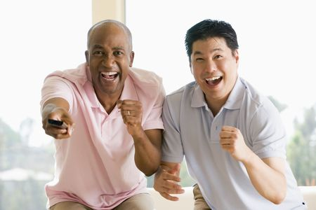 cheer: Two men in living room with remote control cheering and smiling Stock Photo