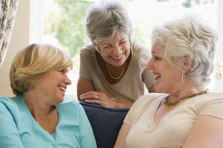 woman couch: Three women in living room talking and smiling Stock Photo