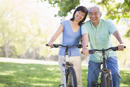 Mature couple bike riding. photo