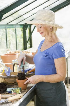 Woman in greenhouse putting soil in pot and smiling Stock Photo - 3461191