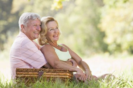 Couple at a picnic smiling Stock Photo - 3475714