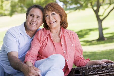 Couple at a picnic holding hands and smiling photo